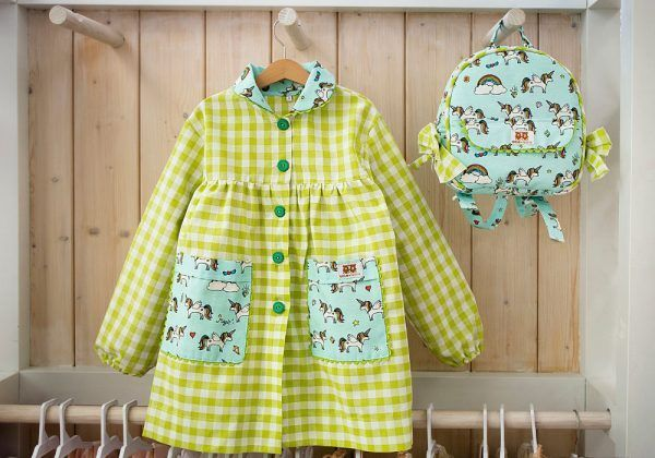 Baby Vichy Verde y Mochila Unicornios